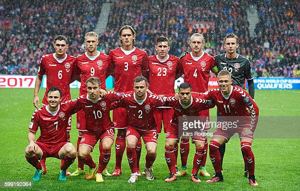 The players of Denmark pose for a group photo prior to the FIFA World Cup 2018 european qualifier match between Denmark and Armenia at Telia Parken...