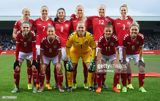 The players of Denmark pose for a group picture prior to the international friendly match between Denmark women and Finland women at Slagelse Stadion...