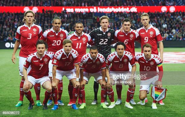 The players of Denmark pose for a group picture prior to the international friendly match between Denmark and Germany at Brondby Stadion on June 6...
