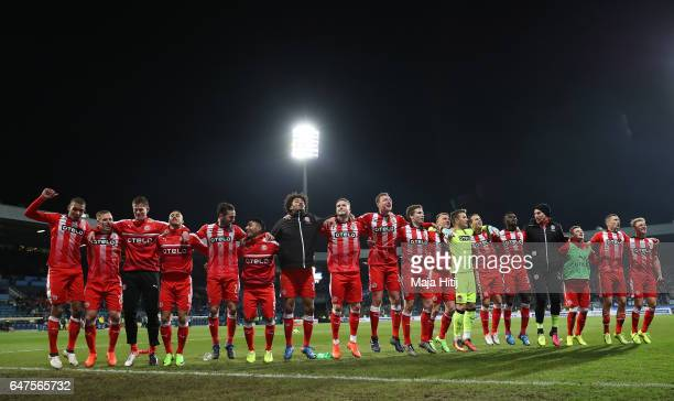 The players of Duesseldorf celebrate after the Second Bundesliga match between VfL Bochum 1848 and Fortuna Duesseldorf at Vonovia Ruhrstadion on...