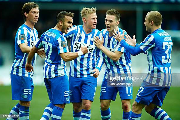 The players of Esbjerg fB celebrating after the 10 goal from Mohammed Fellah during the Danish Alka Superliga match between Esbjerg FB and Silkeborg...