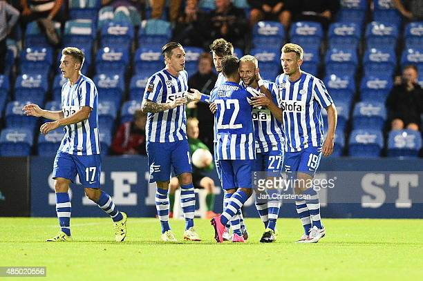 The players of Esbjerg fB celebrating the 11 goal from Robin Söder during the Danish Alka Superliga match between Esbjerg fB and FC Midtjylland at...