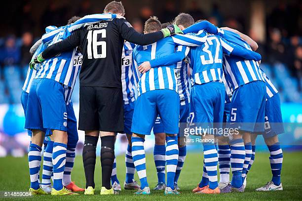 The players of Esbjerg fB huddle prior to the Danish Alka Superliga match between Esbjerg and AGF Aarhus at Blue Water Arena on March 11 2016 in...