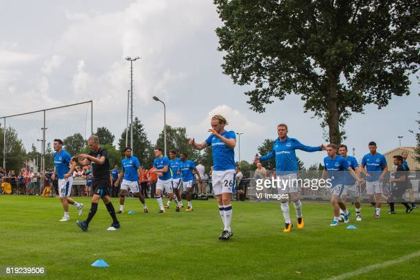 the players of Everton FC at the warming up Gareth Barry of Everton FC Ashley Williams of Everton FC Michael Keane of Everton FC Dominic CalvertLewin...