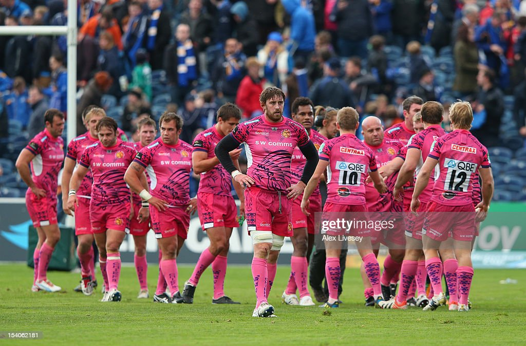 The players of Exeter Chiefs leave the pitch after a narrow defeat to Leinster in the Heineken Cup Pool 5 match between Leinster and Exeter Chiefs at Royal Dublin Society on October 13, 2012 in Dublin, Ireland.