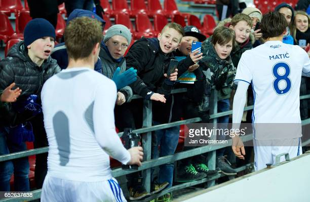 The players of FC Copenhagen and fans after the Danish Alka Superliga match between FC Copenhagen and Esbjerg fB at Telia Parken Stadium on March 12...