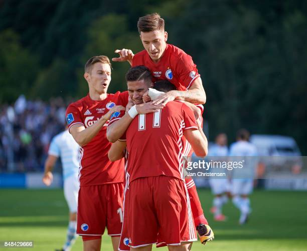 The players of FC Copenhagen celebrate after the 02 goal from Andrija Pavlovic during the Danish Alka Superliga match between FC Helsingor and FC...