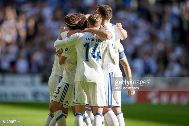 The players of FC Copenhagen celebrate after the 10 goal from Pieros Sotiriou during the Danish Alka Superliga match between FC Copenhagen and FC...