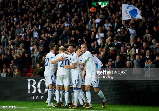 The players of FC Copenhagen celebrate after the 10 goal scored by Uros Matic during the Danish Alka Superliga match between FC Copenhagen and AGF...
