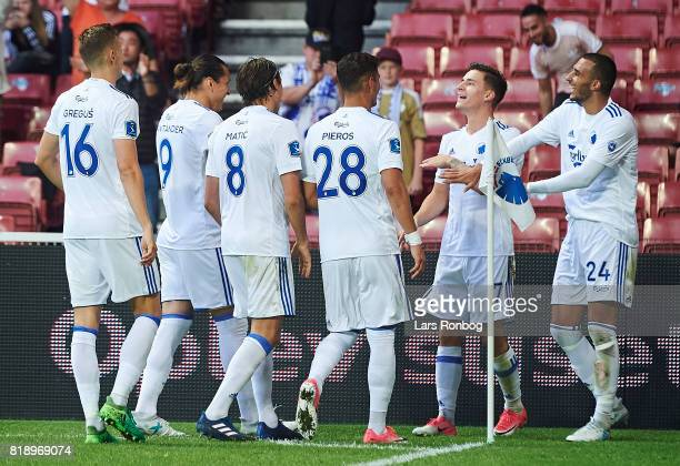 The players of FC Copenhagen celebrate after the 11 goal scored by Benjamin Verbic of FC Copenhagen during the UEFA Champions League Qualification...