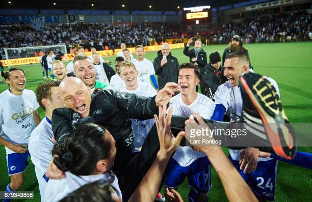 The players of FC Copenhagen celebrate with Stale Solbakken head coach of FC Copenhagen as danish champions after the Danish Alka Superliga match...