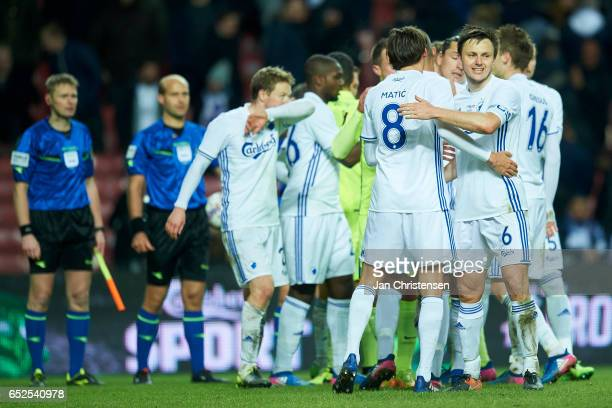 The players of FC Copenhagen celebrates after the Danish Alka Superliga match between FC Copenhagen and Esbjerg fB at Telia Parken Stadium on March...
