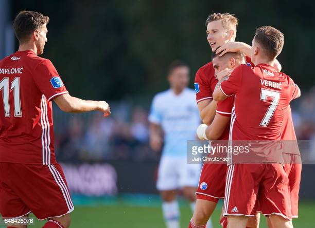 The players of FC Copenhagen celebrating after the 01 goal from Pieros Sotiriou during the Danish Alka Superliga match between FC Helsingor and FC...