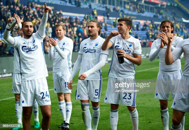 The players of FC Copenhagen celebrating after the Danish Alka Superliga match between Brondby IF and FC Midtjylland at Brondby Stadion on April 17...