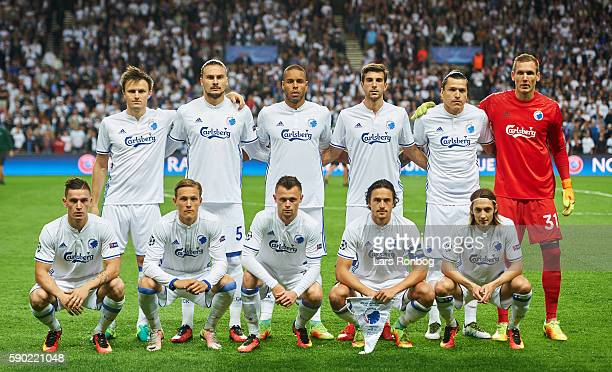The players of FC Copenhagen pose for a group photo prior to the UEFA Champions League playoff 1st leg match between FC Copenhagen and Apoel FC at...