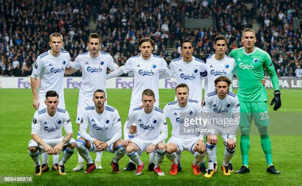 The players of FC Copenhagen pose for a group picture Denis Vavro Michael Luftner Uros Matic Carlos Zeca Pieros Sotiriou Robin Olsen Benjamin Verbic...