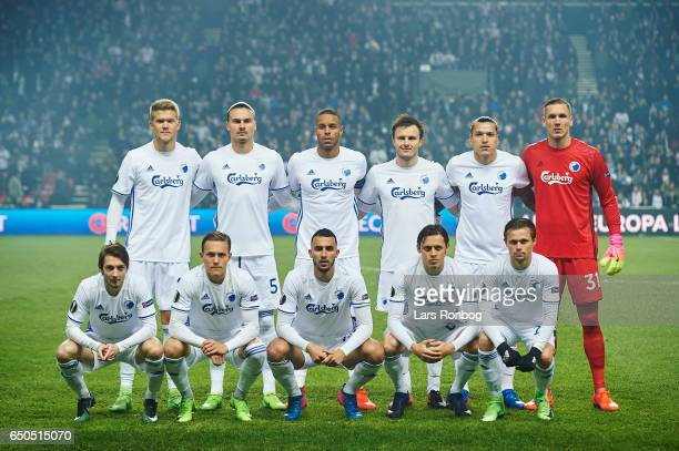 The players of FC Copenhagen pose for a group picture prior to the UEFA Europa League Round of 16 First Leg match between FC Copenhagen and Ajax...