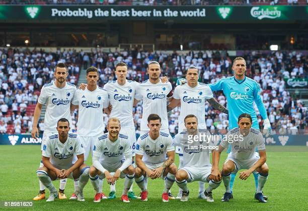 The players of FC Copenhagen pose for a group picture prior to the UEFA Champions League Qualification match between FC Copenhagen and MSK Zilina at...