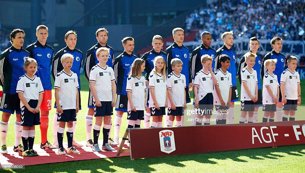 The players of FC Copenhagen prior to the DBU Pokalen Cup Final match between AGF Arhus and FC Copenhagen at Telia Parken Stadium on May 05, 2016 in Copenhagen, Denmark.