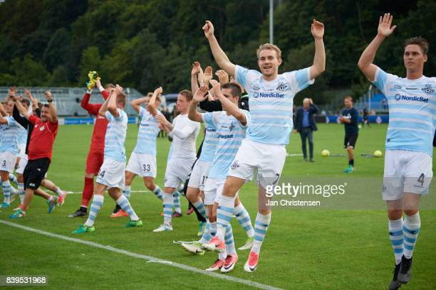 The players of FC Helsingor celebrate after the Danish Alka Superliga match between FC Helsingor and Randers FC at Helsingor Stadion on August 26...