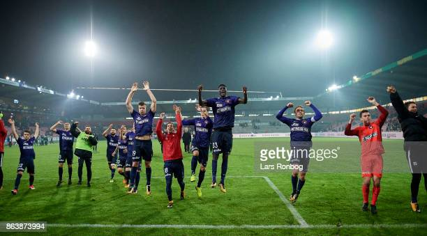 The players of FC Midtjylland celebrate after the Danish Alka Superliga match between FC Midtjylland and AC Horsens at MCH Arena on October 20 2017...