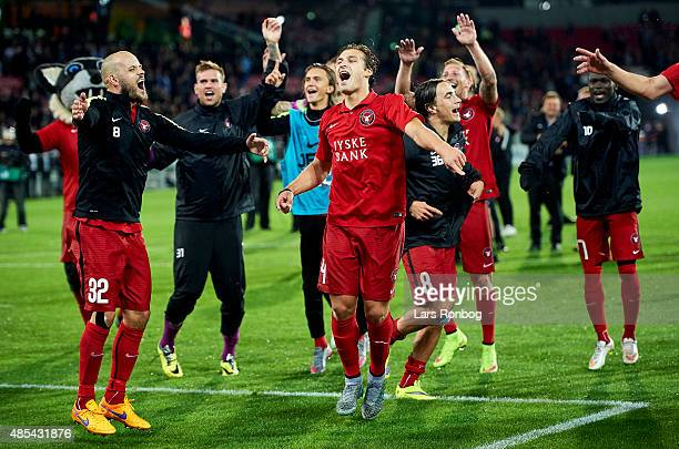 The players of FC Midtjylland celebrate after the UEFA Europa League match between FC Midtjylland and Southampton FC at MCH Arena on August 27 2015...