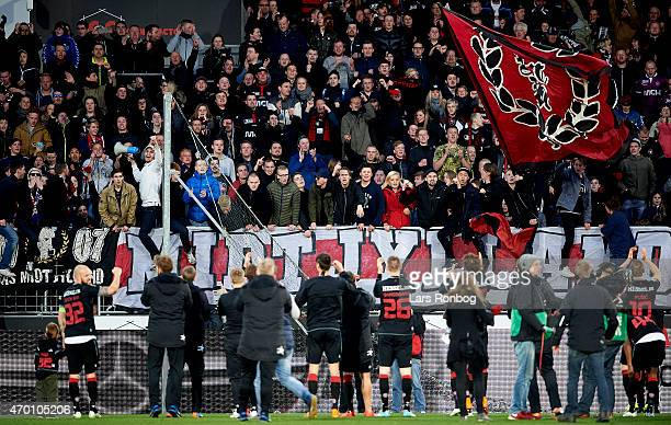 The players of FC Midtjylland celebrate with the fans after the Danish Alka Superliga match between FC Midtjylland and Silkeborg IF at MCH Arena on...