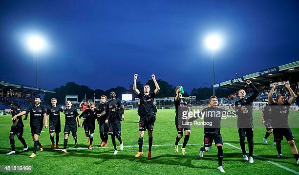 The players of FC Midtjylland celebrate with the fans after the Danish Alka Superliga match between Sonderjyske and FC Midtjylland at Sydbank Park on...