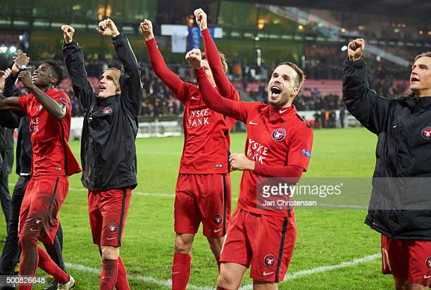 The players of FC Midtjylland celebrating after the UEFA Europa League Group Play match between FC Midtjylland and Club Brugge at MCH Arena on...