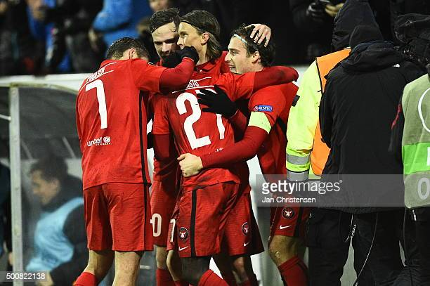The players of FC Midtjylland celebrating the 10 goal from Pione Sisto during the UEFA Europa League Group Play match between FC Midtjylland and Club...