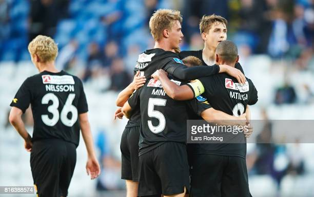 The players of FC Nordsjallad celebrate after the Danish Alka Superliga match between OB Odense and FC Nordsjalland at EWII Park on July 17 2017 in...