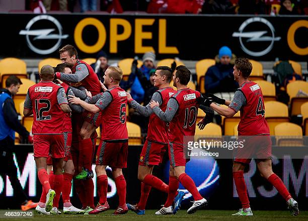 The players of FC Nordsjalland celebrate after the 20 goal by David Moberg Karlsson during the Danish Alka Superliga match between FC Nordsjalland...