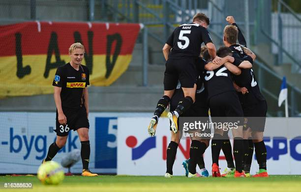 The players of FC Nordsjalland celebrate after the 21 goal scored by Karlo Bartolec of FC Nordsjalland during the Danish Alka Superliga match between...