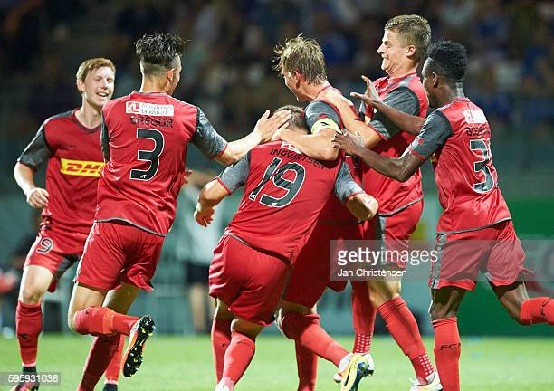 The players of FC Nordsjalland celebrating after the 01 goal from Marcus Ingvartsen during the Danish Alka Superliga match between Lyngby BK and FC...