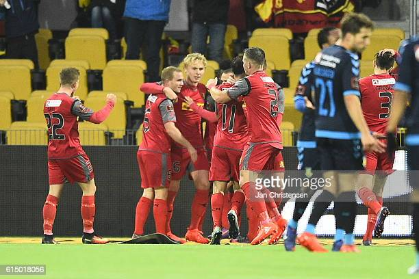 The players of FC Nordsjalland celebrating the 10 goal from Godsway Donyoh during the Danish Alka Superliga match between FC Nordsjalland and Brondby...
