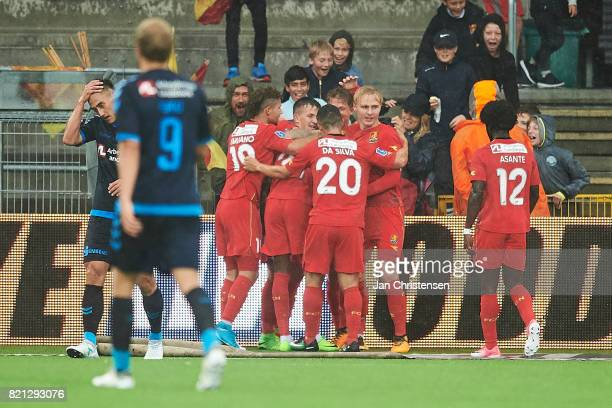 The players of FC Nordsjælland celebrate the 21 goal from Godsway Donyoh during the Danish Alka Superliga match between FC Nordsjalland and Brondby...