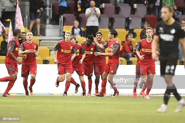 The players of FC Nordsjælland celebrating the 11 goal from Godsway Donyoh during the Danish Alka Superliga match between FC Nordsjalland and Randers...