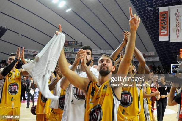 The players of Fiat celebrates during the LBA LegaBasket of Serie A match between Reyer Umana Venezia and Auxilium Fiat Torino at Palasport Taliercio...