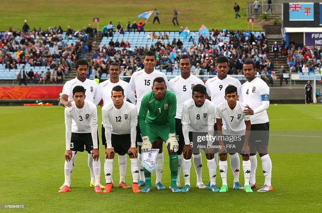 The players of Fiji line up for a team photo prior to the FIFA U-20 World Cup Group F match between Fiji and Uzbekistan at the Northland Events Centre on June 7, 2015 in Whangarei, New Zealand.