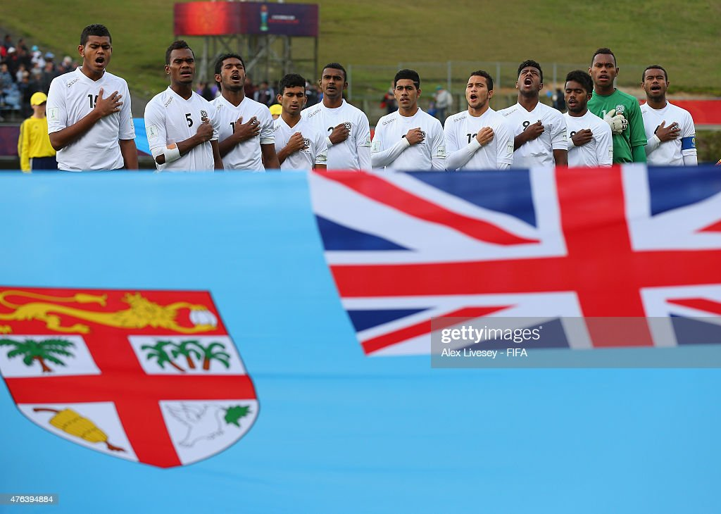 The players of Fiji line up for their national anthem prior to the FIFA U-20 World Cup Group F match between Fiji and Uzbekistan at the Northland Events Centre on June 7, 2015 in Whangarei, New Zealand.