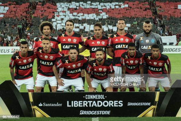 The players of Flamengo pose before their 2017 Copa Libertadores football match against Atletico Paranaense at Maracana statidum in Rio de Janeiro...
