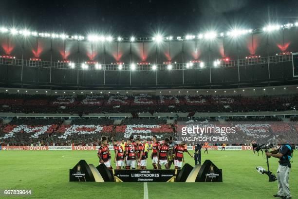 The players of Flamengo pose before their 2017 Copa Libertadores football match against Atletico Paranaense at Maracana statidum in Rio de Janeiro...