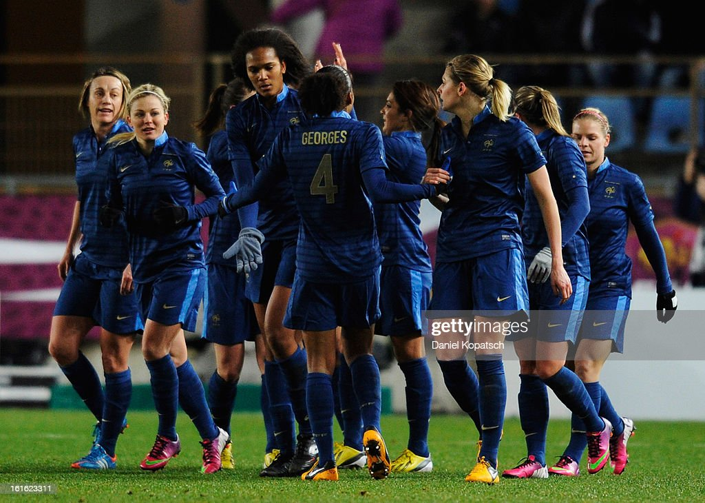 The players of France celebrate their team's first goal during the international friendly match between France and Germany at Stade de la Meinau on February 13, 2013 in Strasbourg, France.