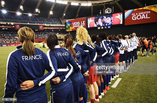 The players of France line up during the FIFA Womens's World Cup round of 16 match between France and Korea at Olympic Stadium on June 21 2015 in...