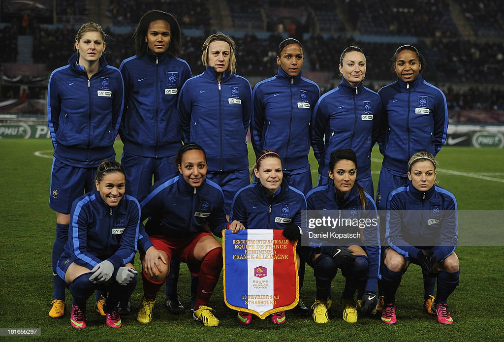 The players of France pose prior the international friendly match between France and Germany at Stade de la Meinau on February 13, 2013 in Strasbourg, France.