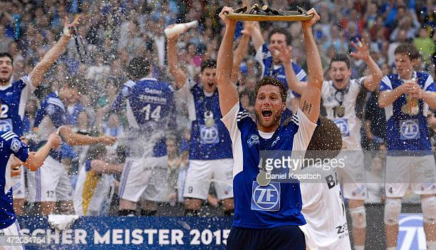 The Players of Friedrichshafen celebrate after the Volleyball Bundesliga match between VfB Friedrichshafen and Berlin Recycling Volleys at ZF Arena...
