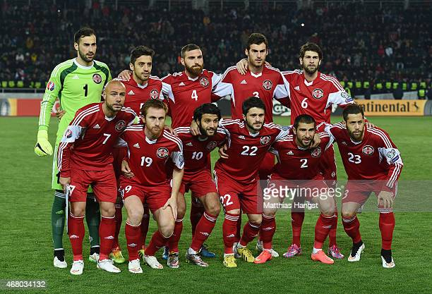 The players of Georgia line up for a picture prior to the EURO 2016 Group D Qualifier match between Georgia and Germany at Boris Paichadze Stadium on...