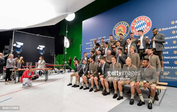 The players of German first division football Bundesliga club Bayern Munich pose during a photo shooting for a FC Bayern Munich sponsor in...