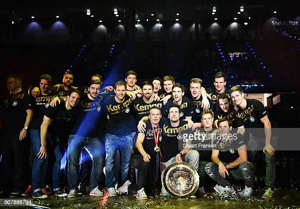 The players of Germany celebrate at the European Handball Champions winners party at Max Schmeling Halle on February 1 2016 in Berlin Germany