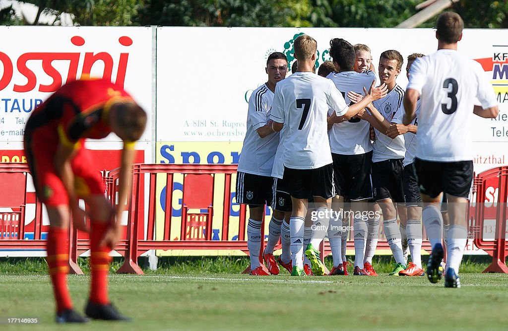 The players of Germany celebrate the scoring during the U17 Toto-Cup match between Germany and Belgium on August 21, 2013 in Gleisdorf, Austria.